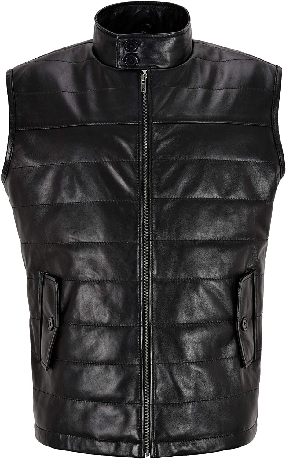 Men's Quilted Leather Gilet Black Real Lamb Leather Winters Waistcoat Vest 4330
