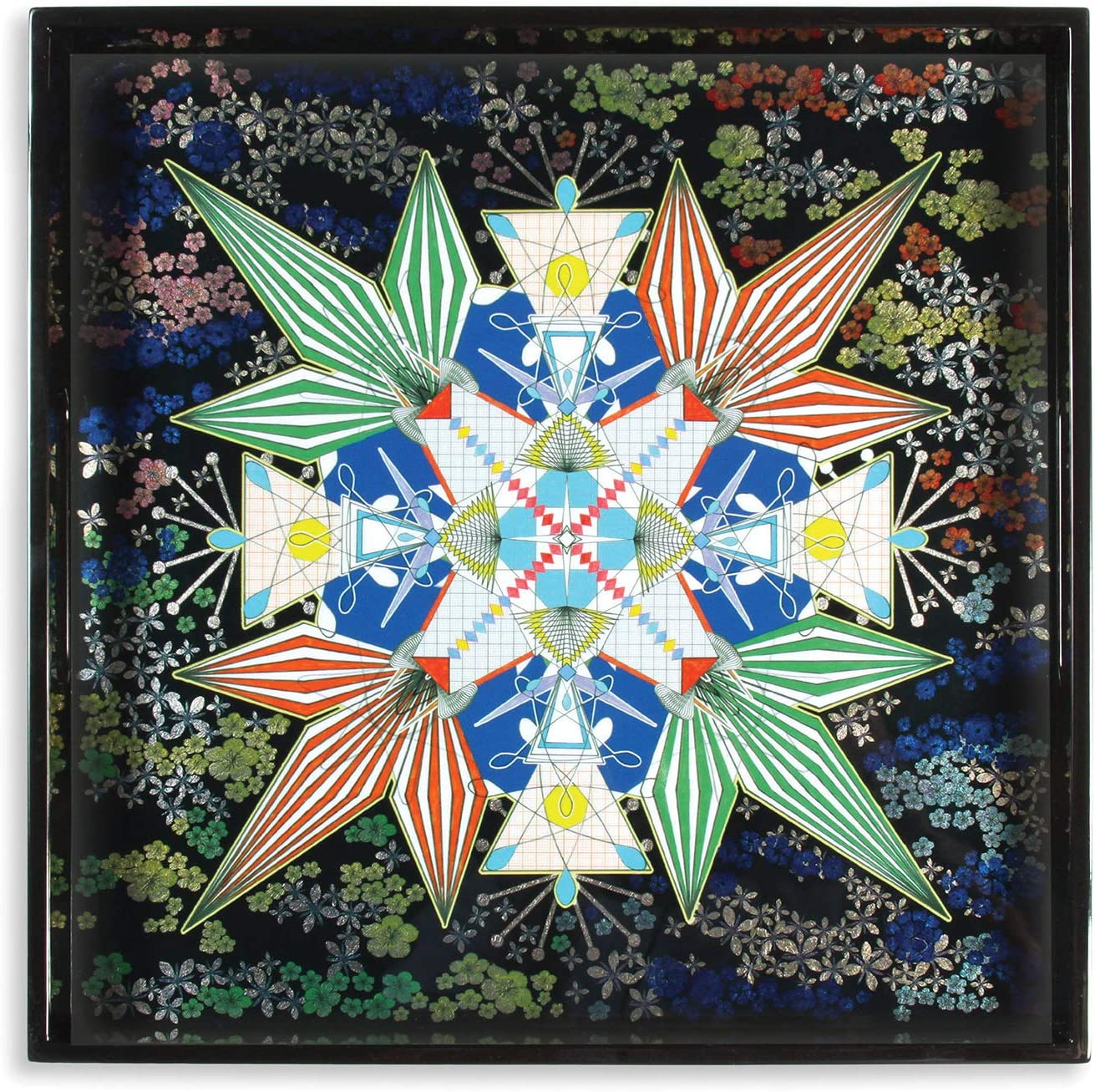 Christian Lacroix Square Lacquer safety Tray Flowers Reservation Size One Galaxy