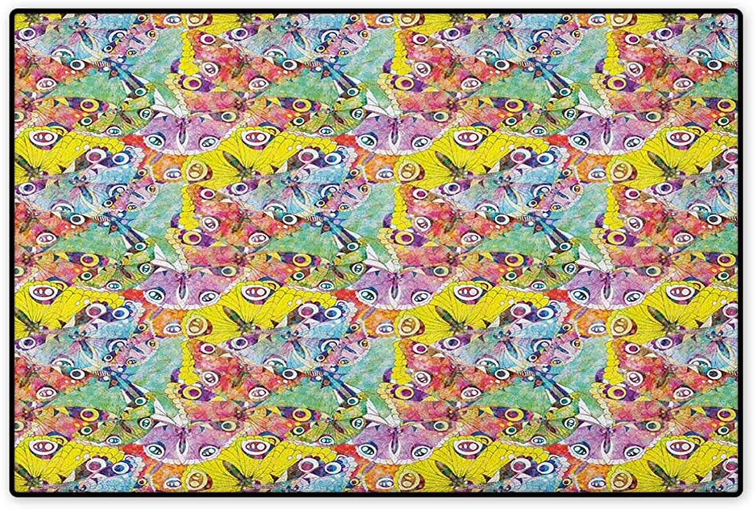 Butterfly,Door Mat Non Slip,colorful Butterflies an Assortment of Different Patterns Abstract Animal Image,Floor Mat for Tub,Multicolor,Size,32 x48  (W80cm x L120cm)