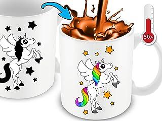 Cortunex Unicorn Morning Coffee Mug. 11 Ounce. Changing Color Mug Ceramic Heat Sensitive Color Changing Coffee Mug. Novelty Heat Sensitive Mug With A Lovely Unicorn Great Christmas Gift Idea, White