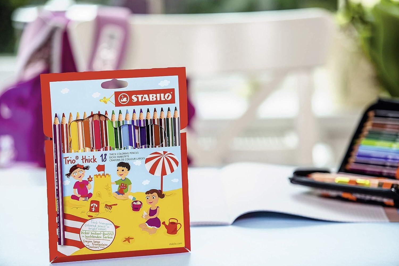 Colouring Pencil STABILO Trio thick Box of 12 red