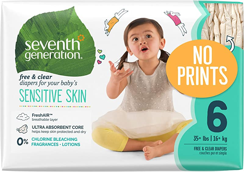 Seventh Generation Baby Diapers For Sensitive Skin Plain Unprinted Size 6 100 Count Packaging May Vary