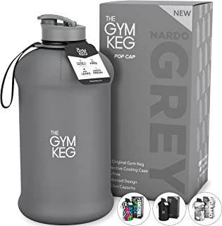 The Gym Keg Sports Water Bottle (2.2 L) Insulated   Half Gallon   Carry Handle   Big Water Jug For Sport, 64oz Hydro Jug, Large Reusable Water Bottles   Ecofriendly, Tritan BPA Free Plastic, Leakproof