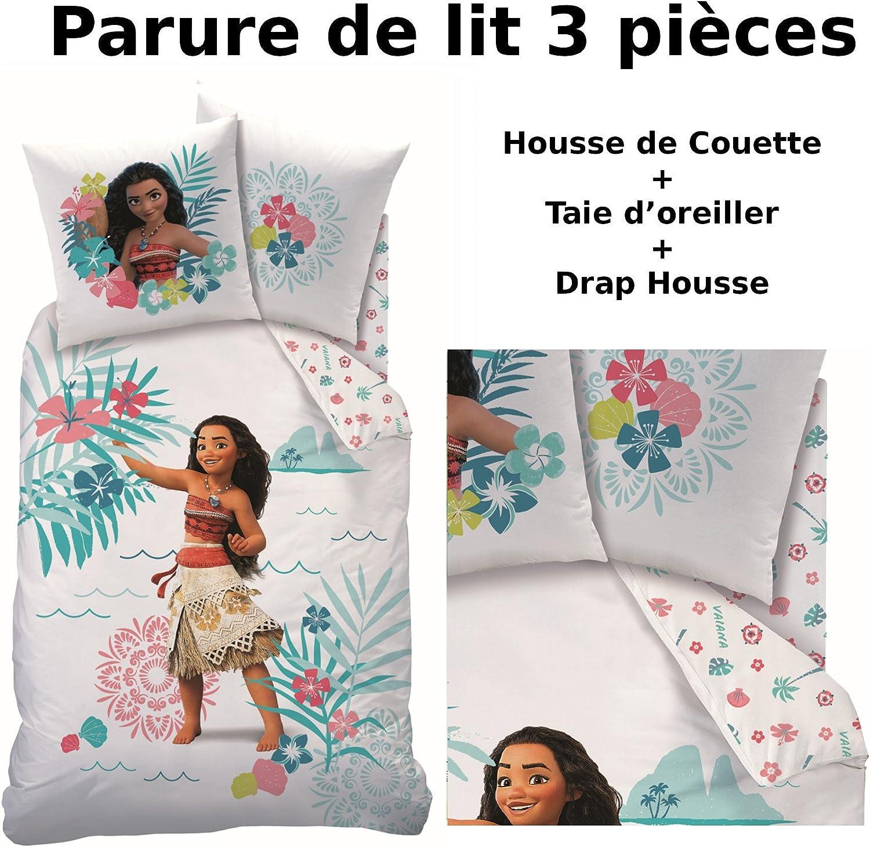 DecoEnfants VAIANA - Parure de lit (3pcs) - 100% Coton - Housse de Couette (140x200) + Taie d'oreiller (63x63) + Drap Housse (90x190) - Moana