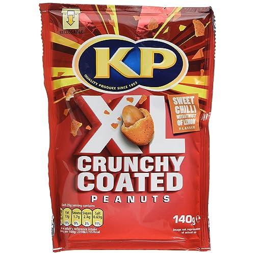 KP Sweet Chilli/Lemon Crunchy Coated Peanuts, 140 g, Pack of 12