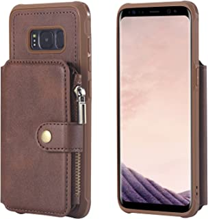 Galaxy S8 Wallet Case Samsung,Zipper Leather Coffee Card Cash Slot Large Capacity Protective Cover Durable Shell Kickstand Men Women