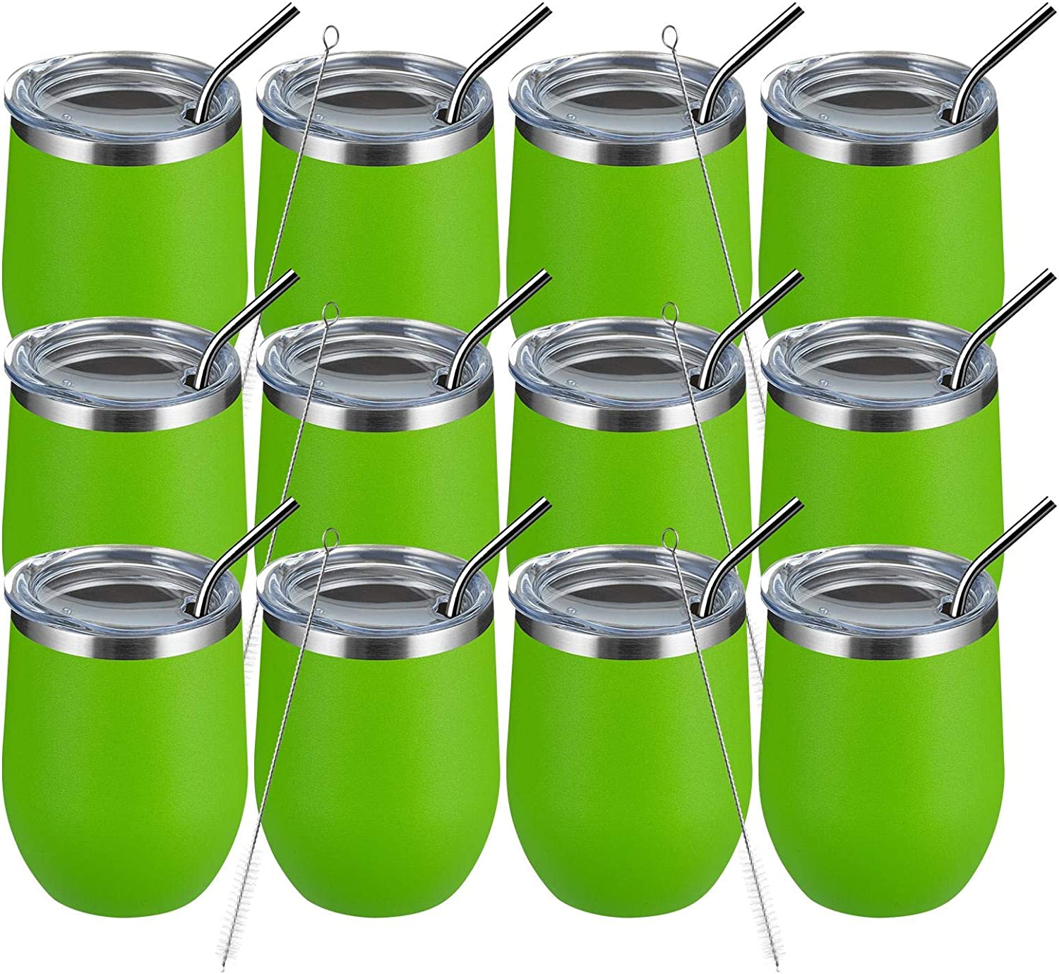 MEWAY 12oz 12 Pack Wine Max 45% OFF Tumbler Va Popular product with Lid Glasses -Double Wall