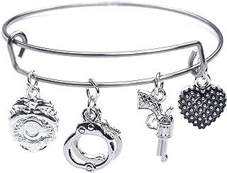 Fishhook Fashion Wristband Stainless Steel DIY Bracelet Dangling Drop Sports Pendent Bracelet for Girls Women