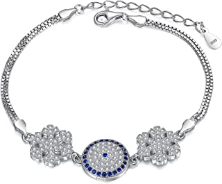 EleQueen 925 Sterling Silver CZ Double Strand Winter Snowflake Evil Eye Bracelet Box Chain
