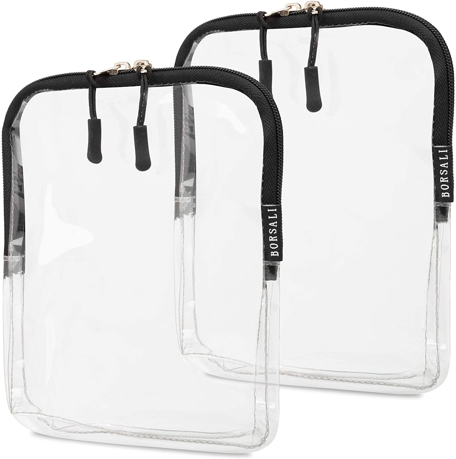 TSA Approved Toiletry Bag - Clear Cosmetic & Travel Toiletries Organizer - Quart Size for 3-1-1 Liquids & Other Personal Items - For Luggage, Purse or Car, Carry Face Coverings, Lotion & More - 2 Pack