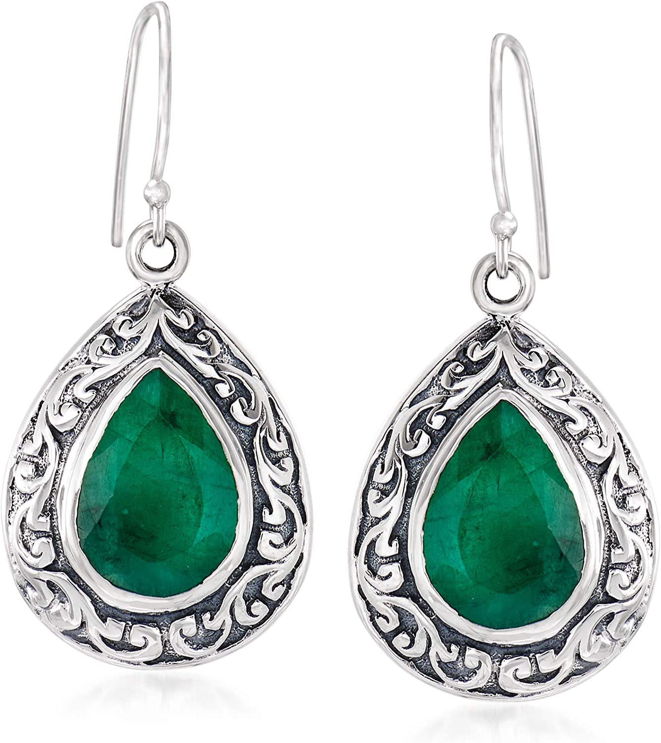 Super sale period limited Ross-Simons Oakland Mall 11.00 ct. t.w. Emerald Sterl Earrings Scroll Drop in