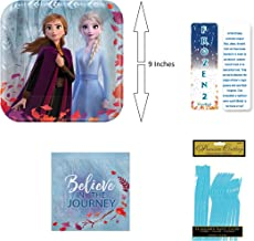 Frozen 2 Birthday Princess Party Bundle: 8 Paper Plates, 16 Paper Napkins, 8 Sets of Plastic Utensils (Fork, Knife & Spoon) and an Exclusive ElevenPlus 2 Bookmark