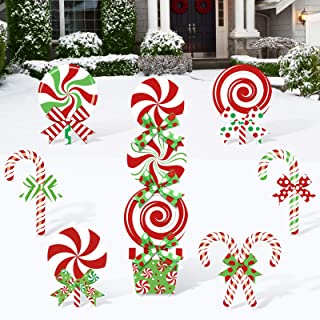 Huray Rayho 10 Pack Christmas Candy Cane Yard Signs Lollipop Front Back Garden Patio Lawn Topper Winter Holiday Peppermint...