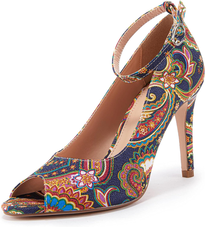 Limited time trial price Ermonn Women's High Heels Platform Stilettos Strap Dress O Fashionable Ankle
