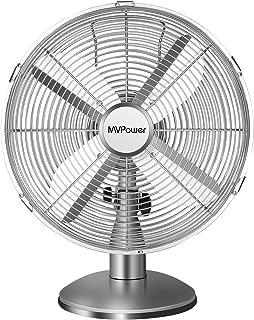 MVPower Ventilateur de Table, 3 Vitesses, 34.5cm Diamètre, Oscillation 75 °, Inclinaison Réglable 10 °, 4 Pales, Ventilate...