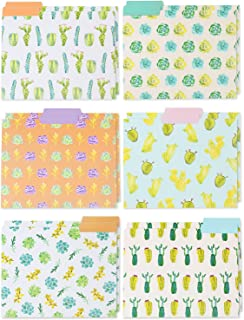 File Folders - 12-Pack Decorative File Folders, 6 Beautiful Succulent Plant Colorful File Folders, Designer File Folders - Letter Size 1/3 Cut 1/2 inch Top Memory Tab, 11.5 x 9 inches