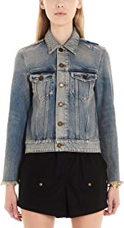 SAINT LAURENT Luxury Fashion Womens 601602Y883Y4501 Light Blue Outerwear Jacket |