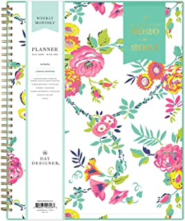 "Day Designer for Blue Sky 2020-2021 Academic Year Weekly & Monthly Planner, Flexible Cover, Twin-Wire Binding, 8.5"" x 11"", Peyton White"
