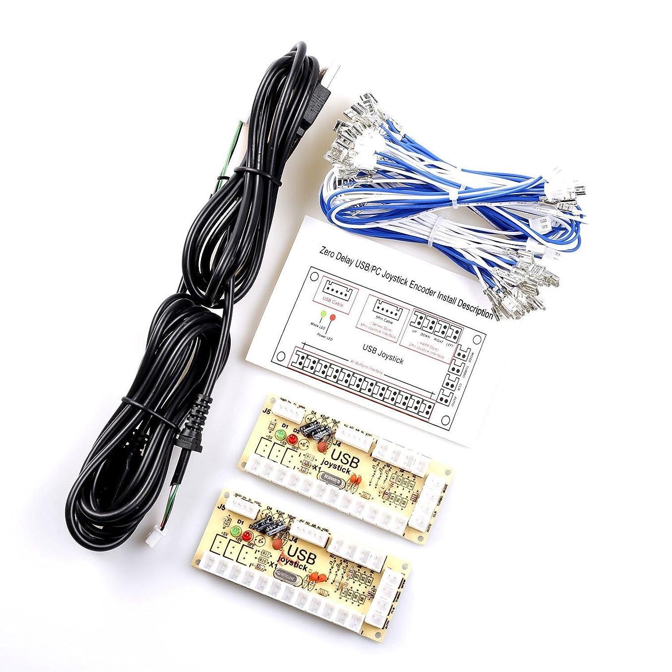 計算可能鳴らすシビックSODIAL 2 x ゼロ遅延アーケードUSBエンコーダーPCジョイスティック2PINジョイスティック&4.8MMボタン