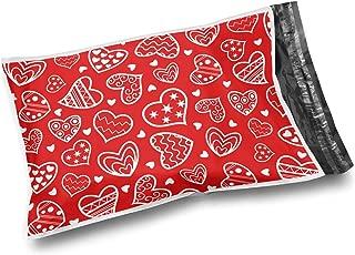 Shop4Mailers 25.4 x 33.02 cm 光泽心形塑料袋邮寄信封,0.03 cm 100 Pack 心形