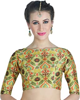 STUDIO Shringaar Women's Digital Printed Multi-Coloured Saree Blouse With Boat Neck