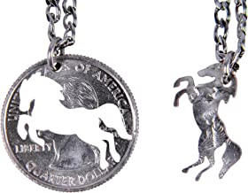Marycrafts Set Hand Cut Coin Horse Necklace Interlocking Necklace Jewelry Relationship BFF
