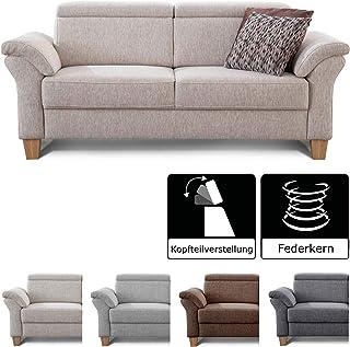 Cavadore 3 Sitzer Sofa Ammerland / Couch Mit Federkern Im Landhausstil /  Inkl. Verstellbaren
