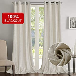 Rose Home Fashion 100% Blackout Curtains for Bedroom Linen Textured Look Drapes with Blackout Liner, Curtains for Living Room/Farmhouse, Burlap Curtains-Set of 2 Panels (50x108 Beige)