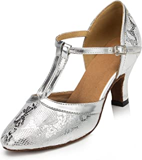 URVIP Women's Satin Heels Pumps Modern Latin Tango Shoes T-Strap Dance Shoes LD028