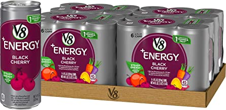 V8 +Energy, Juice Drink with Green Tea, Black Cherry, 8 Fl Oz Can (6 Count (Pack of 4), Total of 24)
