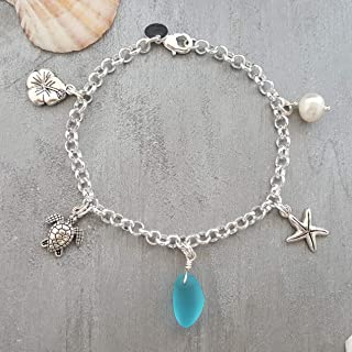 product image for Handmade in Hawaii, blue sea glass chain style bracelet, starfish charm, Freshwater pearl, (Hawaii Gift Wrapped, Customizable Gift Message)