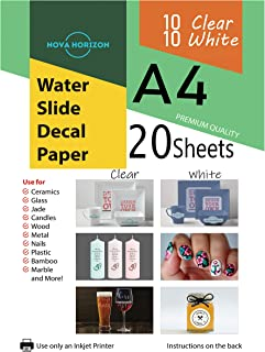 Nova Horizon Mixed Waterslide Decal Paper for Inkjet Printer, 20 Sheets (10 White 10 Clear), A4 Size Water Slide Transfer Printable Paper