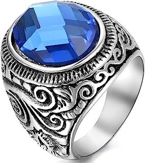 OIDEA Anillos de acero inoxidable de plata para hombre y mujer, clásicos, retro, con piedras artificiales azules, tallas 5...