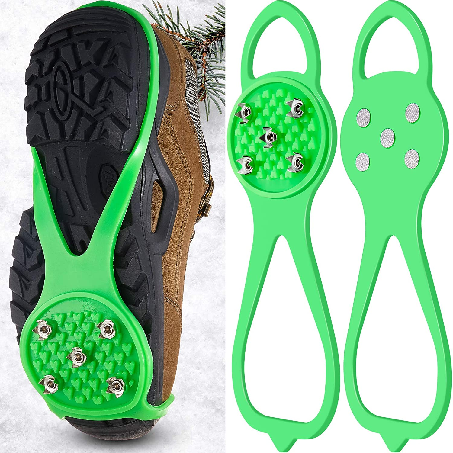 1 Pair Non-Slip Gripper Spikes Claw Universal Ice No Slip Snow Shoe Spikes Anti-Skid Snow Ice Shoe Spikes for Hiking Skiing Walking Mountaineering Shoes and Boots