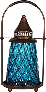 Exhart Solar Vintage Metal and Sea Blue Glass Accent Lantern with Twelve LED Fairy Firefly String Lights, 7 by 15 Inches