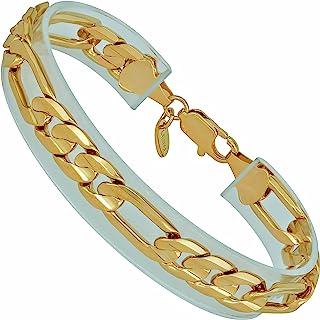 LIFETIME JEWELRY 9mm Figaro Chain Bracelet for Men & Women 24k Real Gold Plated