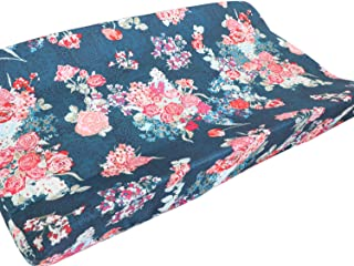 Baby Boy Crib Bedding Aztec Changing Pad Cover (Coral Navy Flora)