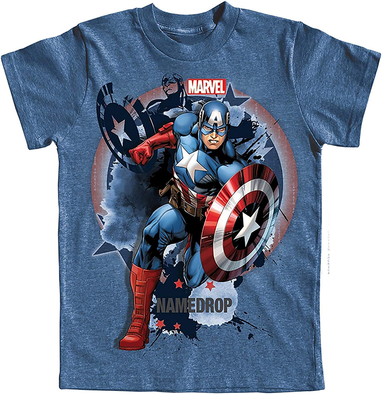 Disney Boys Purchase Bursting Captian America Blue T-Shirt Outstanding