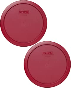 Pyrex 7402-PC Sangria Red Plastic Food Storage Replacement Lids - 2 Pack