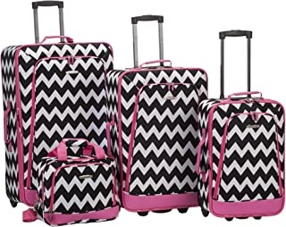 Rockland Escape 4-Piece Softside Upright Luggage Set, Pink Chevron, (14/19/24/28)