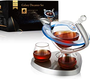 Galaxy Whiskey Decanter Set with 2 Glasses,Galaxy Globe Whiskey Wine Decanter,Bar Set,Wine Whiskey Gifts for Men,Beverage Drink Liquor Dispenser,for Liquor, Scotch,Bourb,Wine,Vodka - 850ml (29oz)