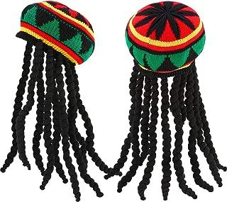 Black Vinyl Rasta Hat w//Hair Jamaican Dress Up Halloween Adult Costume Accessory