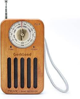 ポータブルラジオ FM/AM対応 小型 モノラル 簡単な使用 携帯ラジオ 高感度ラジオ 木目調 保証付き(縦置き型R-916)