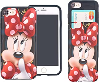 iPhone 8 Plus/iPhone 7 Plus Case Cute Slim Slider Cover : Card Slot Shock Absorption Dual Layer Holder Bumper for [ iPhone8 Plus / iPhone7 Plus ] Case - Idea Minnie Mouse