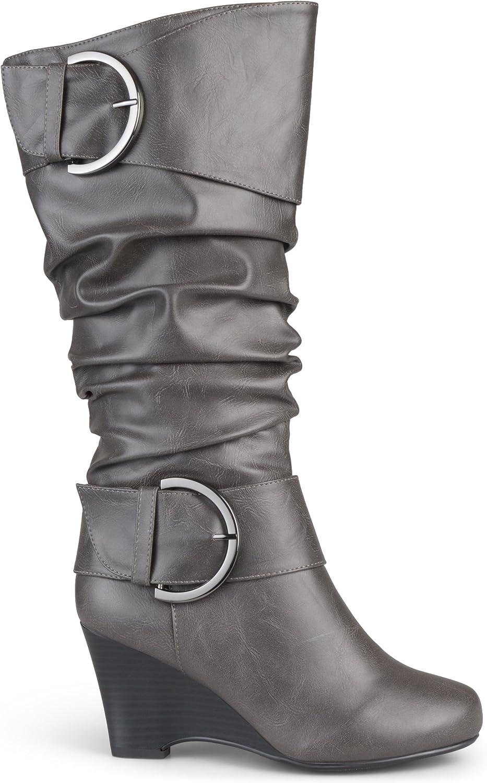 Brinley Co. kvinnor Buckle Tall Faux Faux Faux läder stövlar  grossist-
