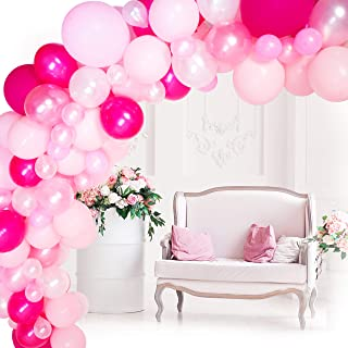 Balloon Garland Kit, Rose Pink and White Balloons, Balloon Arch Kit for Wedding Baby Shower Birthday, Ballon Garland Kits Includes 100 Assorted Balloons, Decorating Strip Tape, Glue Dots, Instruction