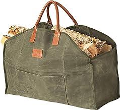 Sackliin Heavy Duty Waxed Canvas Log Carrier, Firewood Carrier Tote Bag, Wood Carrier for firewood, Close End - no Mess, F...