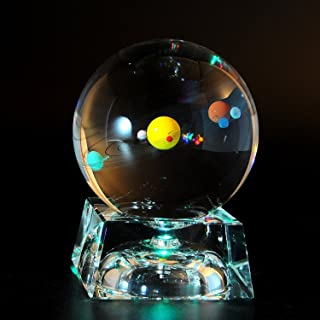 Solar System 3D Crystal Ball with LED lamp Base Clear 80mm (3.15 inch) Glass Sphere Best Birthday Gift for Kids, Teacher of Physics, Astronomer, Lover of the Universe, Boyfriend, Girlfriend, Classma