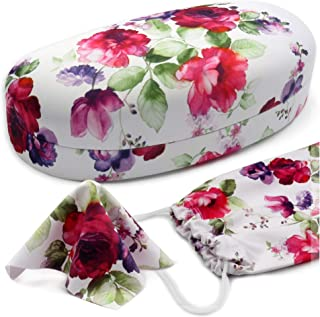 MyEyeglassCase Women Floral Sunglasses Case | Hard Glasses Case Medium To Large Frames