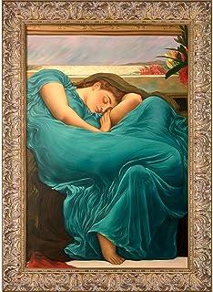 "La Pastiche Flaming June in Teal Originals Oil Painting, 24"" x 36"", Espana Gold Frame"